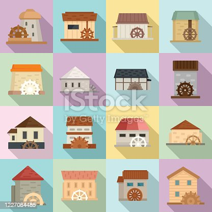 Water mill icons set. Flat set of water mill vector icons for web design