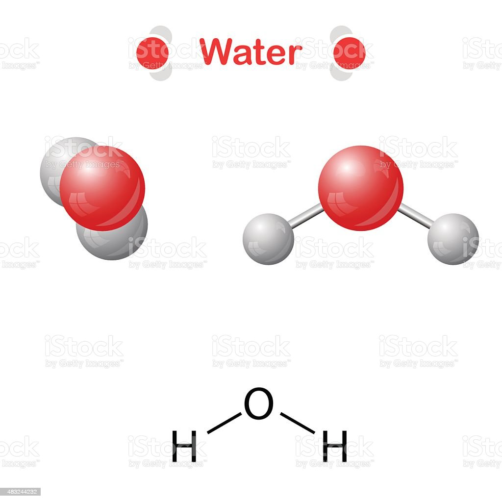 Water molecule - icon and chemical formula vector art illustration