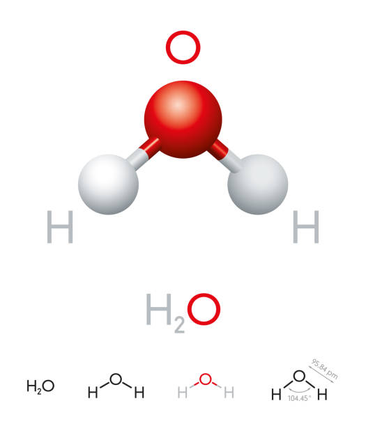 h2o water molecule model and chemical formula - cząsteczka stock illustrations