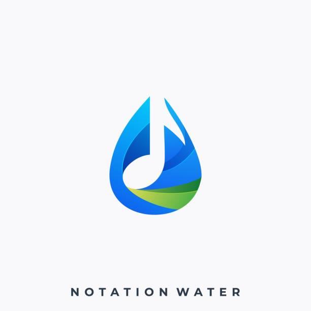 ilustrações de stock, clip art, desenhos animados e ícones de water music illustration vector template - natureza close up