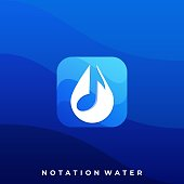 Water Music Illustration Vector Template. Suitable for Creative Industry, Multimedia, entertainment, Educations, Shop, and any related business.