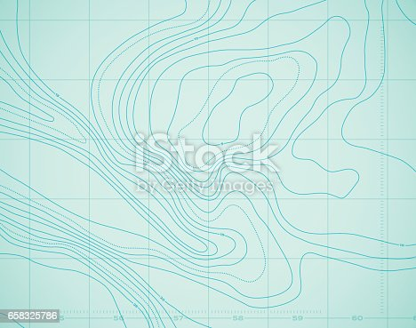 Ocean Water Topographic Background isolines.