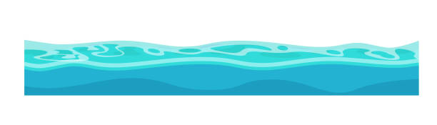 Water, oceans, rivers for ui games and ux interface. Game environment and landscape, surroundings. Water, oceans, rivers for ui games and ux interface. 2D gaming platform. Seamless surface of the water waves. Vector illustration isolated. sea stock illustrations