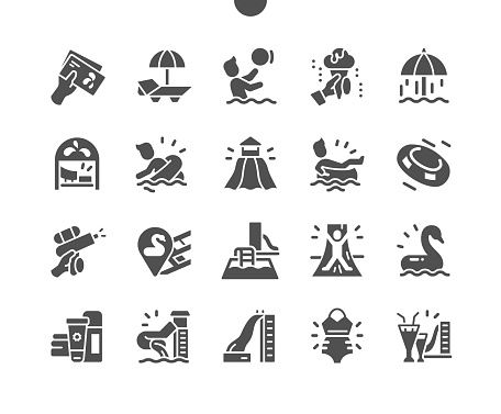Water Park. Aquapark. Summer vacation, cocktails, relaxation. Water slides, summer water activities. Fun time. Vector Solid Icons. Simple Pictogram