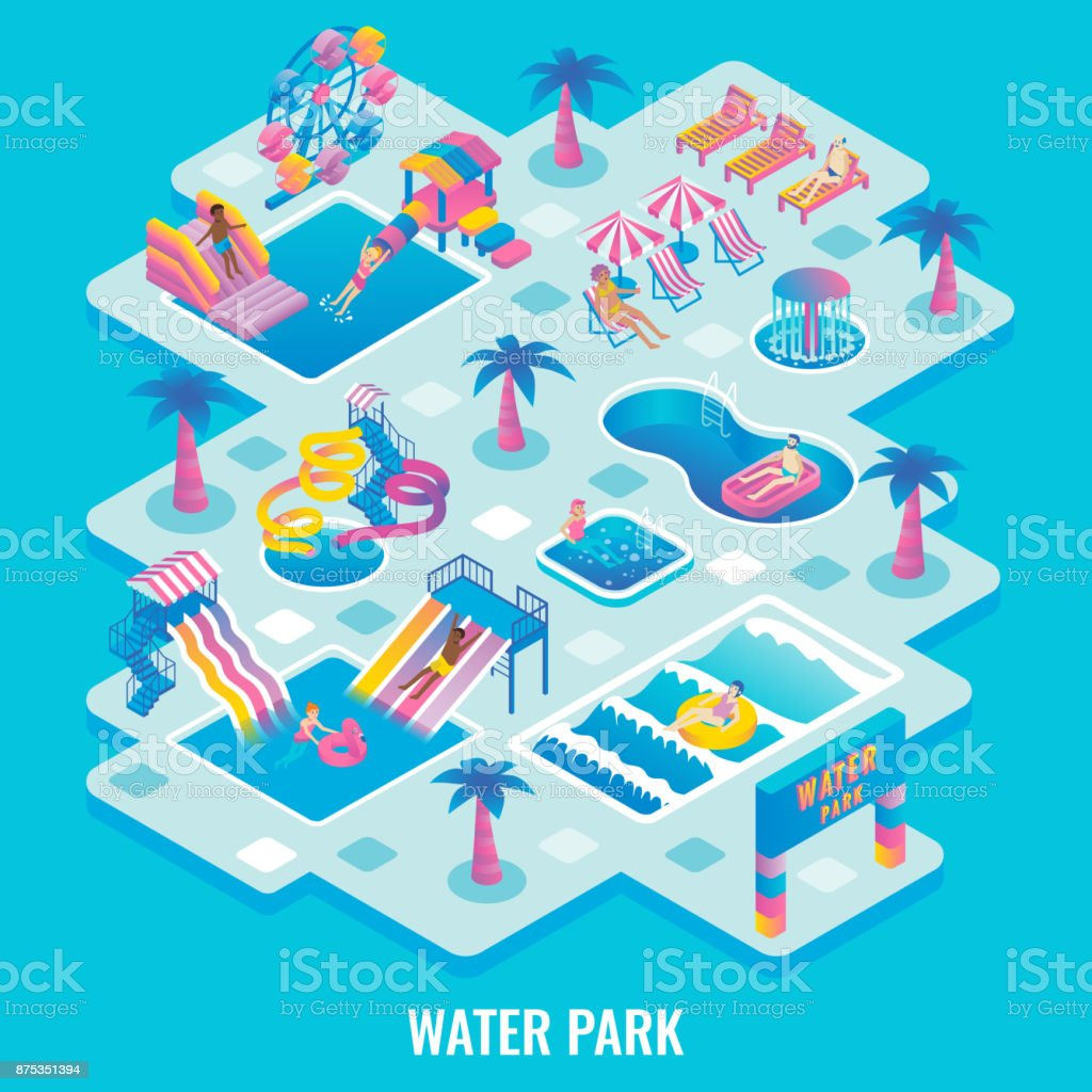 Water park concept vector flat isometric illustration vector art illustration