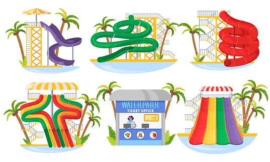 Water park slide set, flat vector isolated illustration. Aqua park attractions. Summer water amusement, entertainment.