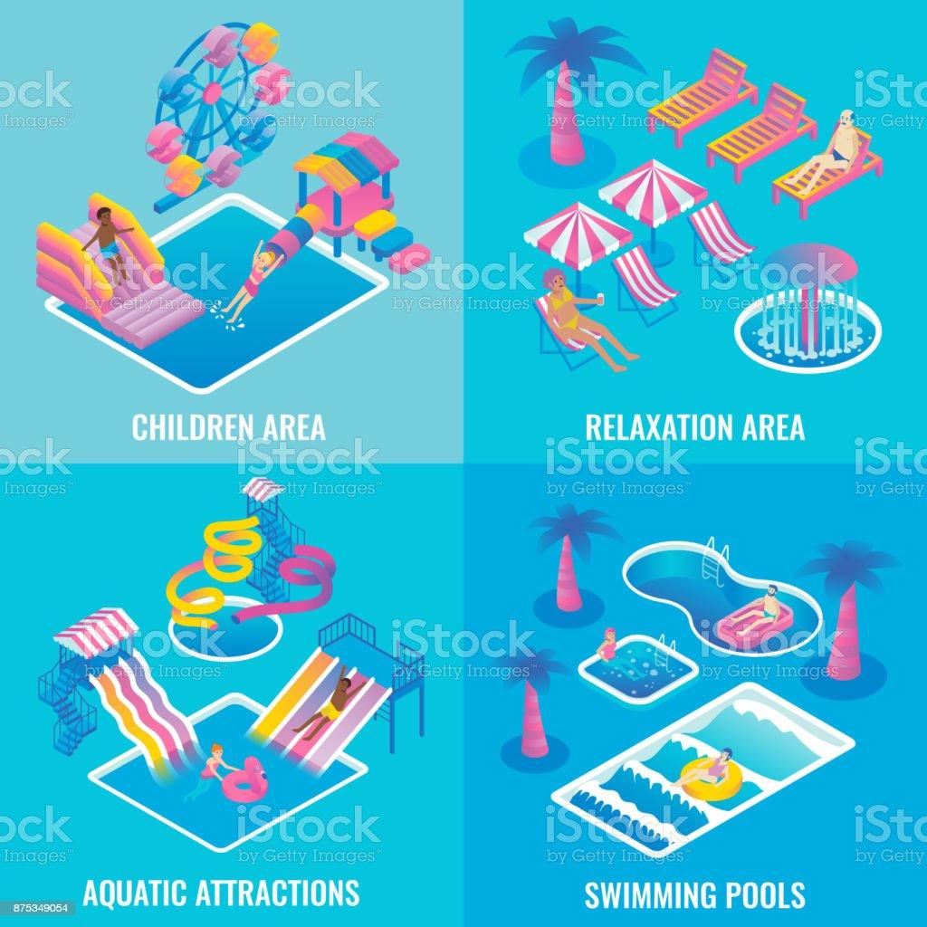 Water park vector flat isometric poster set vector art illustration