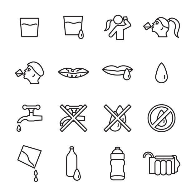 Water, people drinking water icon set. Vector. Water, people drinking water icon set. Vector. eps10. arid stock illustrations
