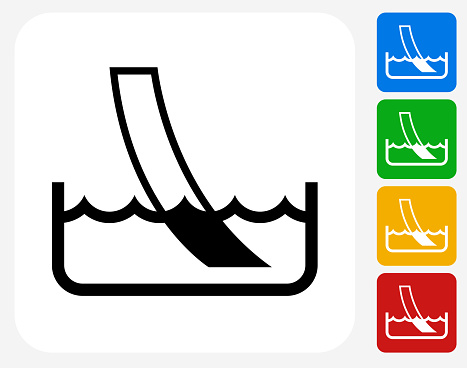 Water Ph Paper Test Icon Flat Graphic Design. This 100% royalty free vector illustration features the main icon pictured in black inside a white square. The alternative color options in blue, green, yellow and red are on the right of the icon and are arranged in a vertical column.
