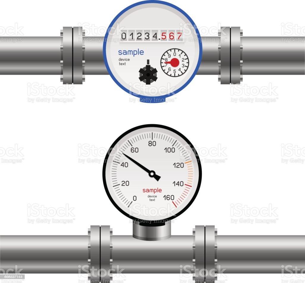 water pipe pressure meter vector art illustration