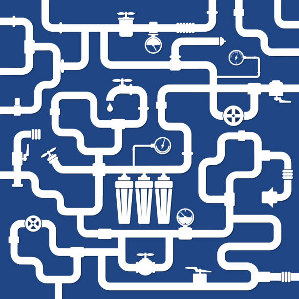 water pipe systems vector - tap water stock illustrations