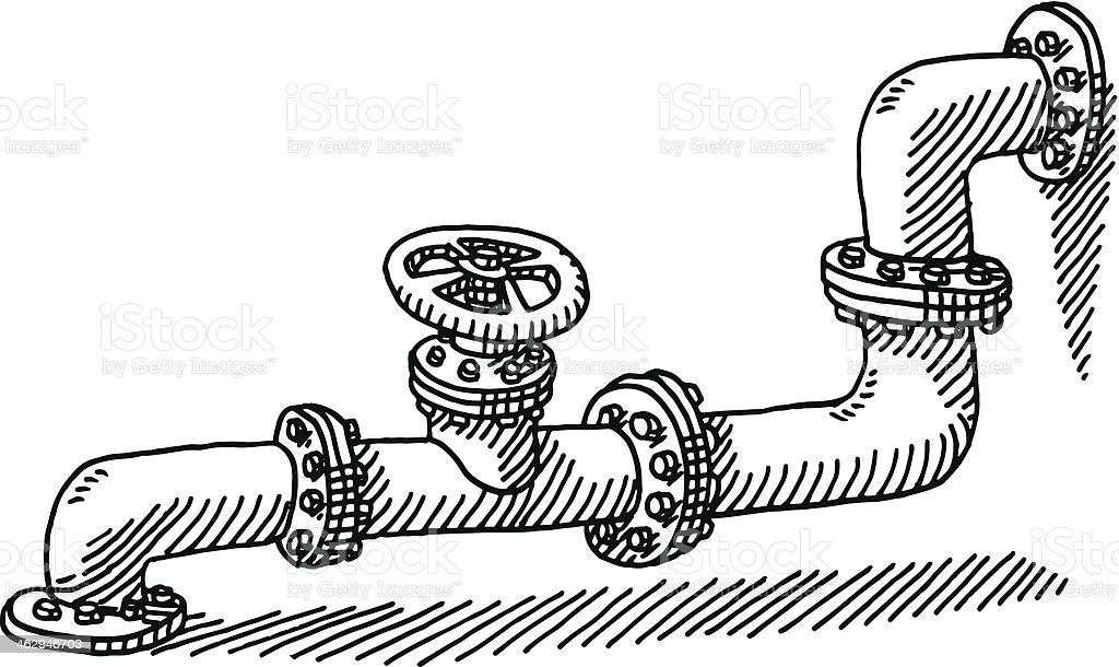 Water Pipe Valve Drawing royalty-free stock vector art