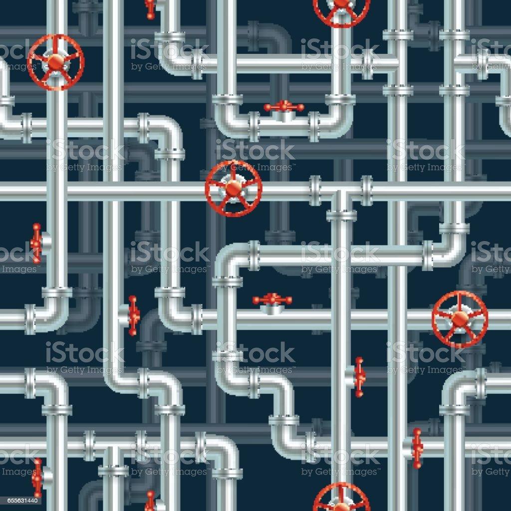 Water pipeline seamless pattern vector art illustration
