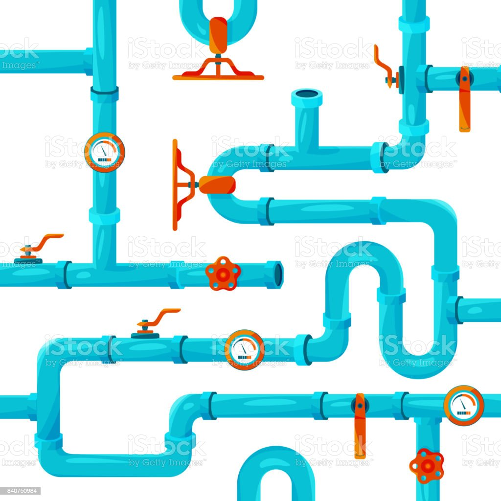 Water pipeline system installation. Vector background picture vector art illustration