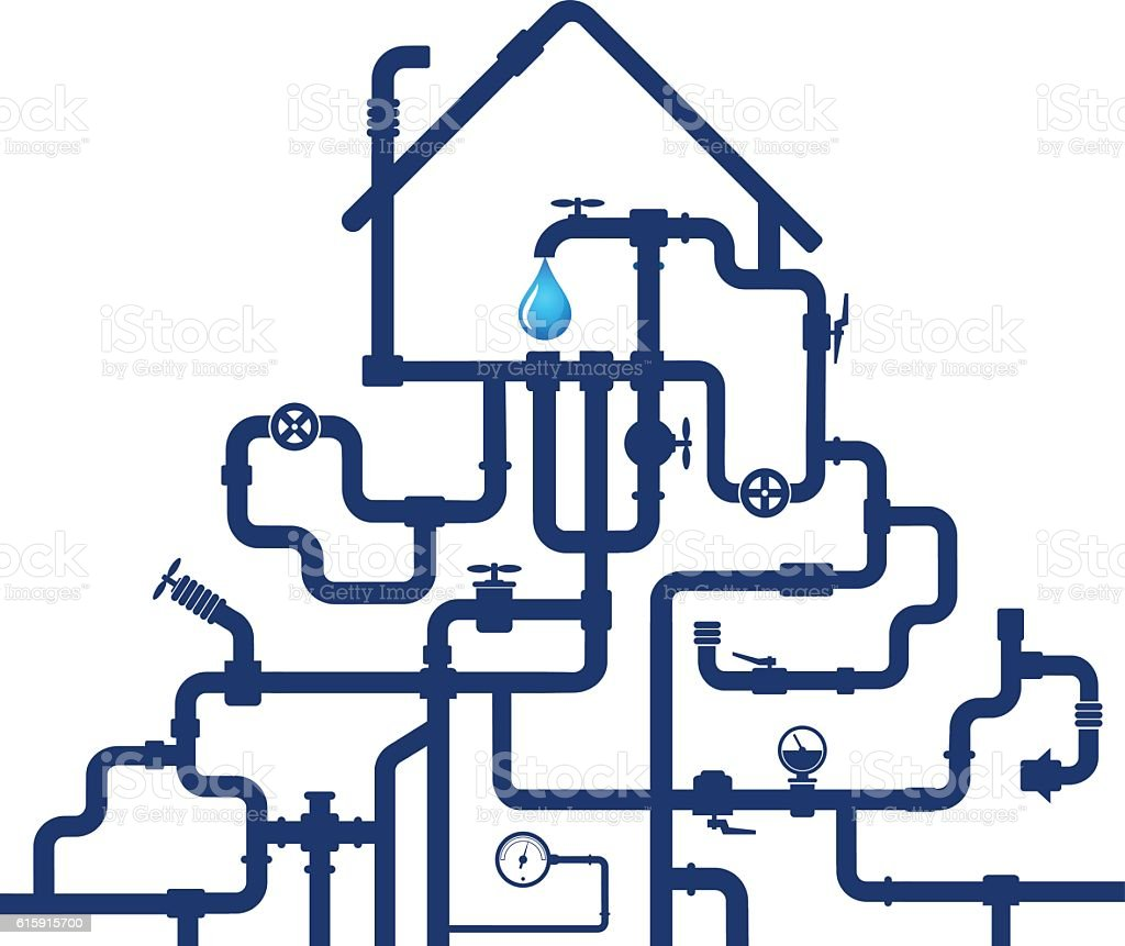 Water pipes and house vector art illustration