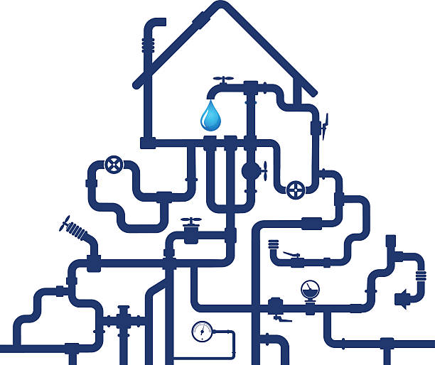 water pipes and house - plumber stock illustrations, clip art, cartoons, & icons