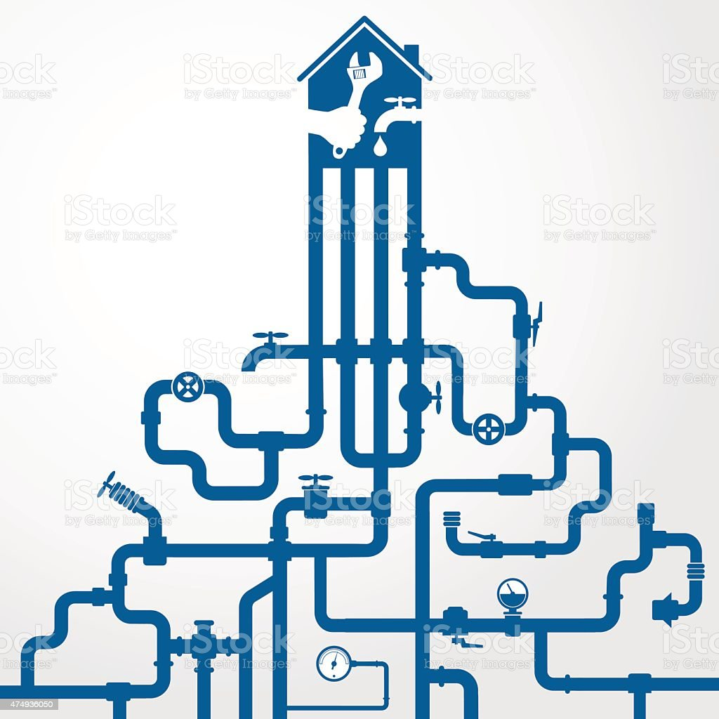 Water pipes and sewerage vector art illustration
