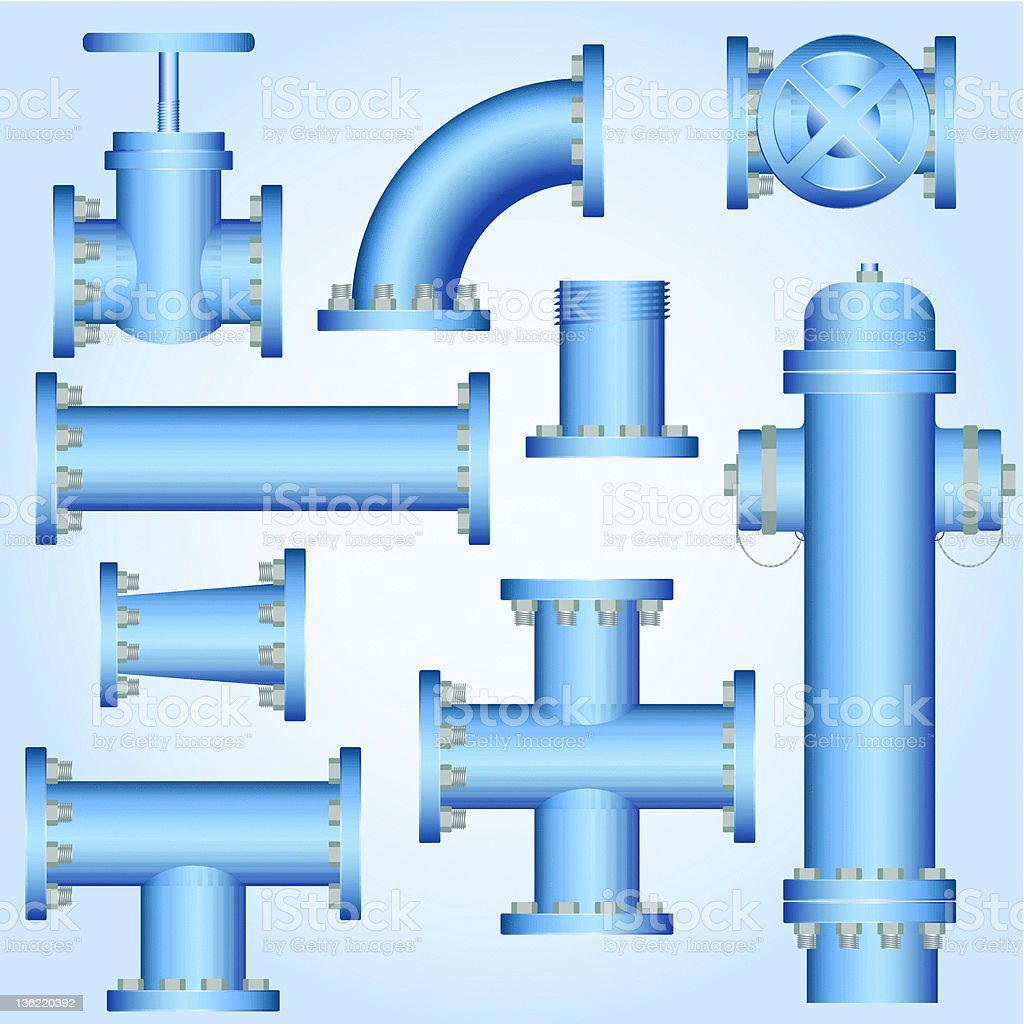 Water pipes royalty-free stock vector art