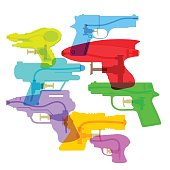 Colourful overlapping silhouettes of water pistol or squirter toy. EPS10 file, best in RGB. Achieved with transparencies and items can be repositioned. CS5 versions in zip