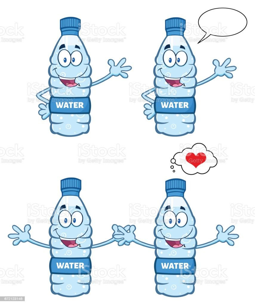 water plastic bottle cartoon mascot character 3 collection set stock