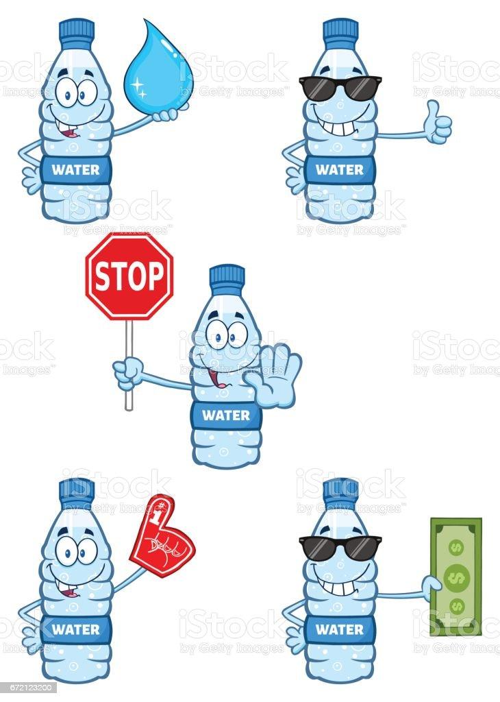 Ilustracion De Personaje De Mascota De Dibujos Animados De Botella De Plastico 6 De Agua Sistema De La Coleccion Y Mas Vectores Libres De Derechos De