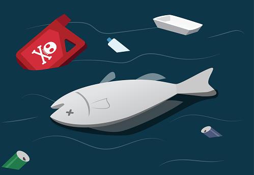 Water pollution make dead fish, vector