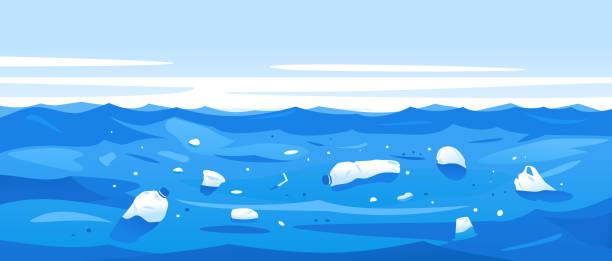 플라스틱 쓰레기의 수 질 오염 - 플라스틱 stock illustrations
