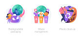 Garbage sorting and recycling icons set. Contamination of water bodies problem. Biodegradable packaging, waste management, plastic clean-up metaphors. Vector isolated concept metaphor illustrations