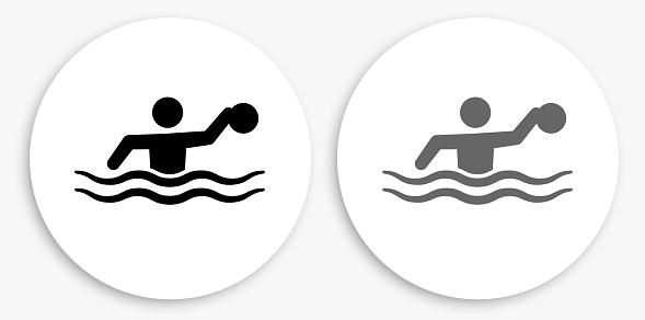 Water Polo Black and White Round Icon