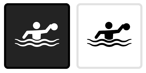 Water Polo Icon on  Black Button with White Rollover