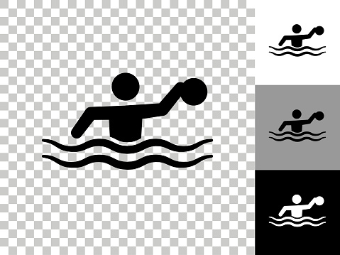 Water Polo Icon on Checkerboard Transparent Background