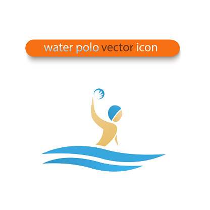 Water polo Illustration of man in water with ball in his hand.
