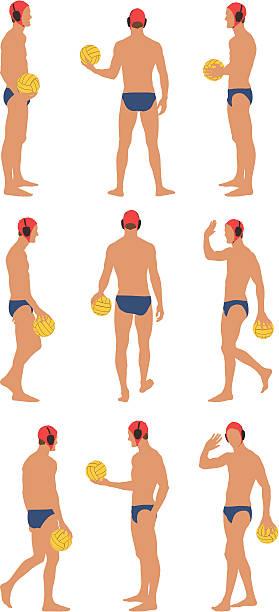 ilustrações de stock, clip art, desenhos animados e ícones de jogador de pólo aquático segurando uma bola - tronco nu