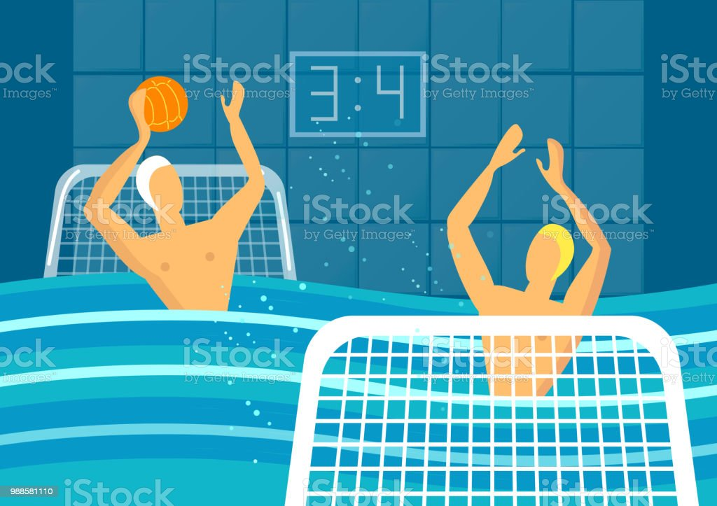 Water Polo Player In Swimming Pool Sports Games Vector Stock Vector ...