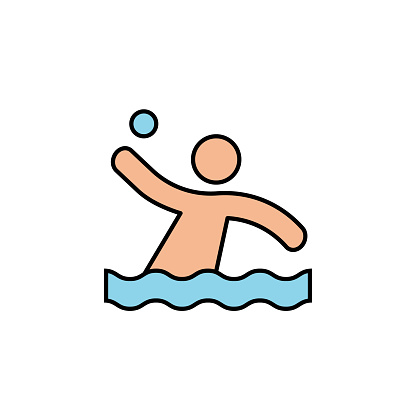 water polo, swimming pool, competition line colored icon. Signs, symbols can be used for web, logo, mobile app, UI, UX
