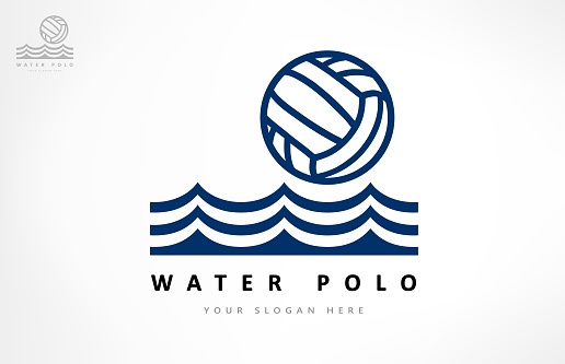 Water polo vector. Ball and wave. Sport design.