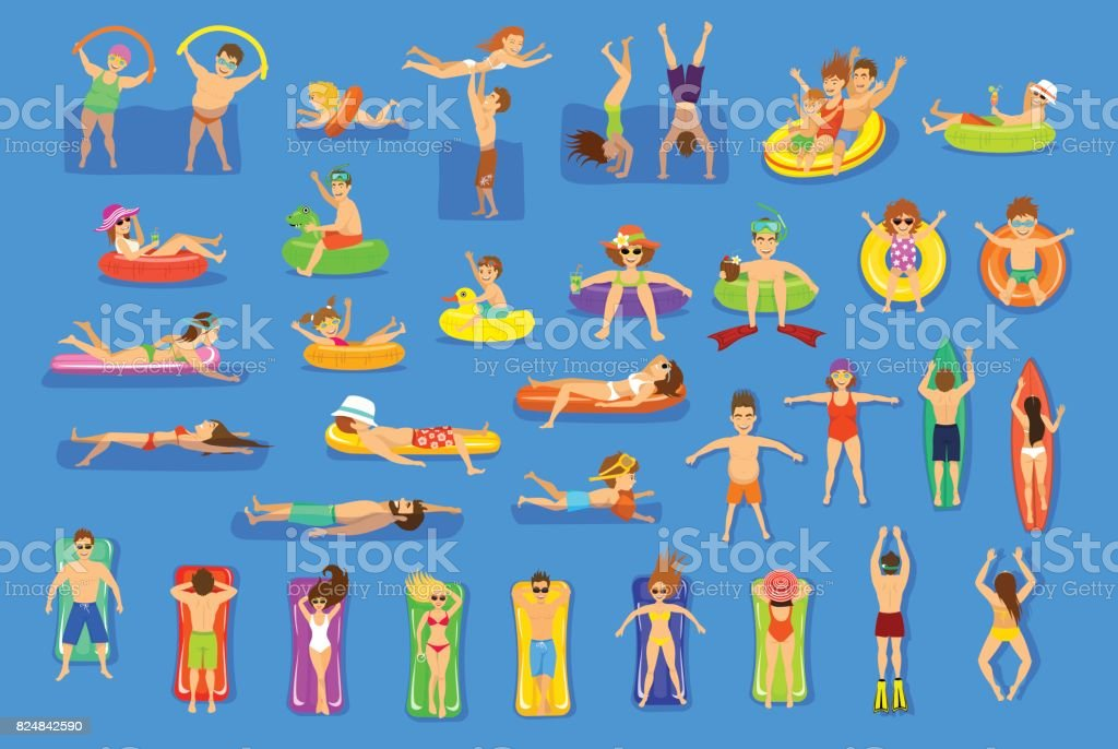 Water pool sea fun activities vector illustration set. vector art illustration