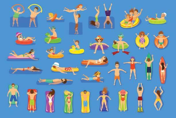 ilustrações de stock, clip art, desenhos animados e ícones de water pool sea fun activities vector illustration set. - jump pool, swimmer