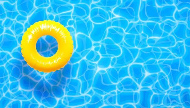 ilustraciones, imágenes clip art, dibujos animados e iconos de stock de agua piscina verano fondo con anillo flotador de piscina amarillo. fondo con textura aqua azul verano - verano
