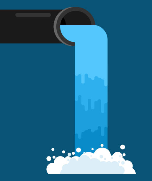 Water pouring from pipe. Flow of clean water. Vector illustration Water pouring from pipe. Flow of clean water. Vector illustration flowing water stock illustrations