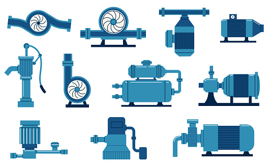 Water pump. Electric machine with compressor, aqua tank and motor. Gas and oil plumbing system. Cisterns with tube and valves. Industrial equipment set. Vector engineering construction