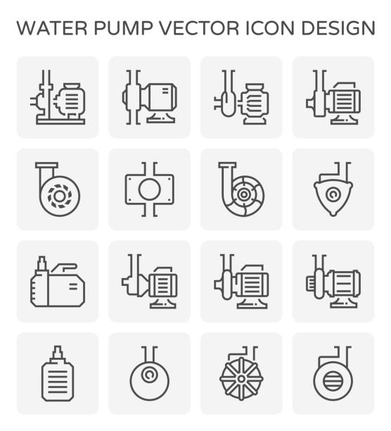 water pump icon Electric water pump and steel pipe for water distribution isolated on white background, editable stroke. centrifuge stock illustrations
