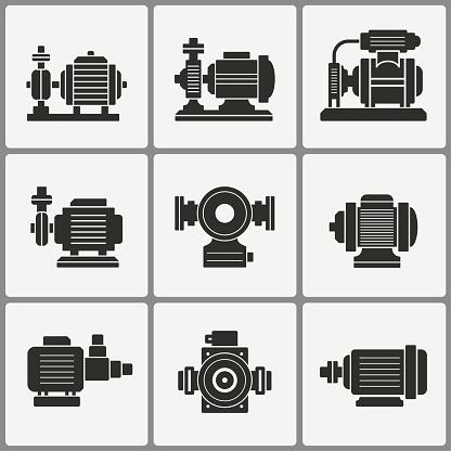 Water pump icons set.