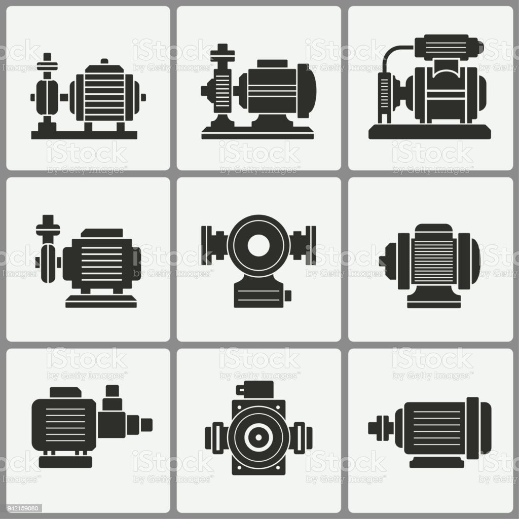 Water pump icons set. vector art illustration