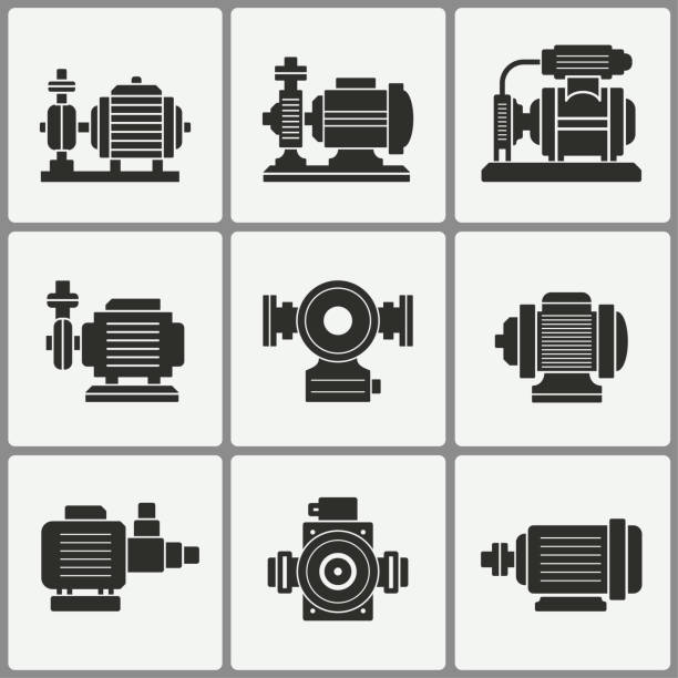 stockillustraties, clipart, cartoons en iconen met water pictogrammen pompset. - elektrische motor