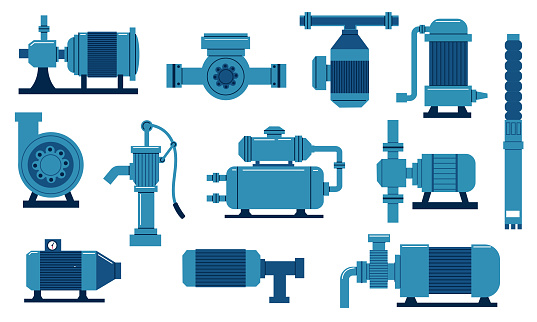 Water pump. Oil industry compressor with motor. Engineering aqua tank with tubes and valves. Isolated diesel supply system. Plumbing machine collection. Vector sewer piping equipment set
