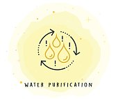 Water Purification Icon with Watercolor Patch