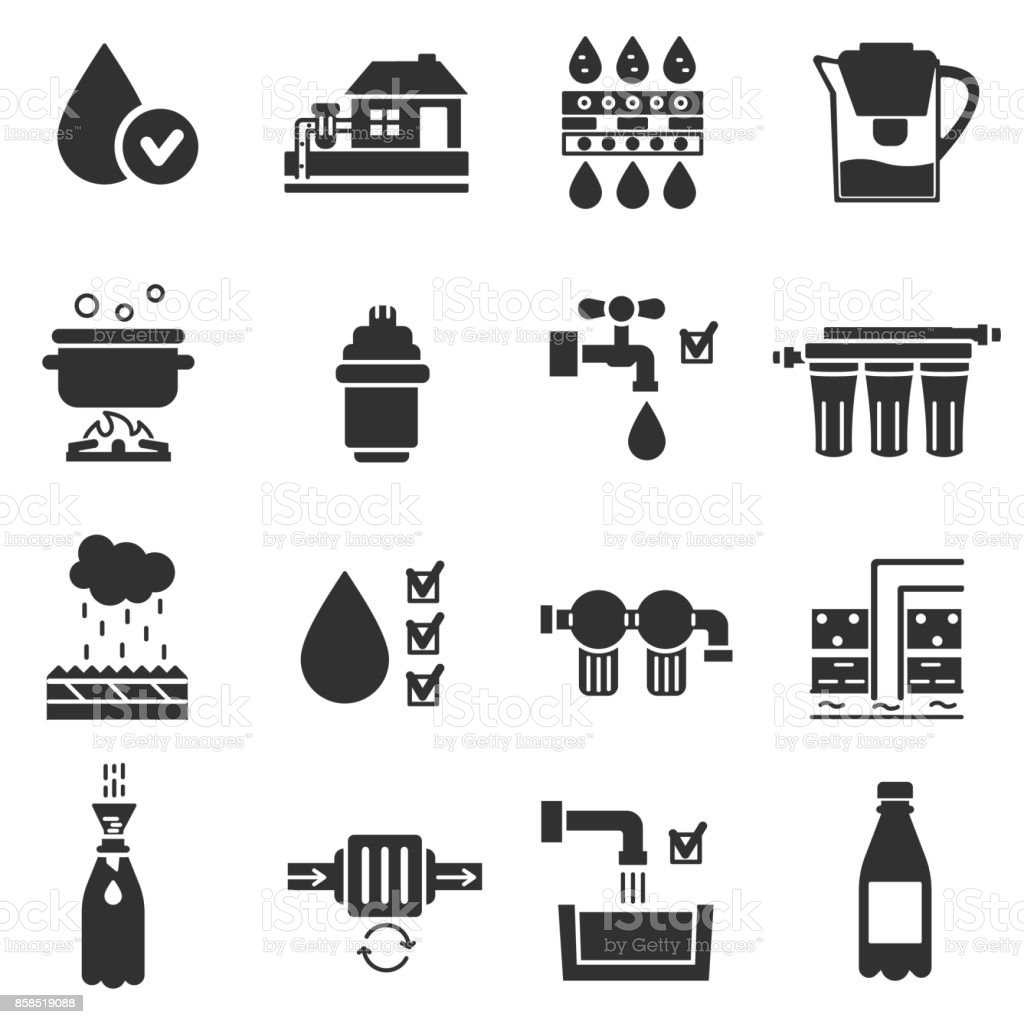 Water purification, monochrome icons set. vector art illustration