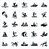 Icons related to water sports and recreation. The icons include paddleboarding, swimming, wakeboarding, boating, watercraft, parasailing, windsurfing, water polo, water skiing, wakesurfing, surfing, whit water rafting, fishing, sailing, slalom water skiing, kneeboarding, kayaking, scuba diving, canoeing and snorkeling to name a few.
