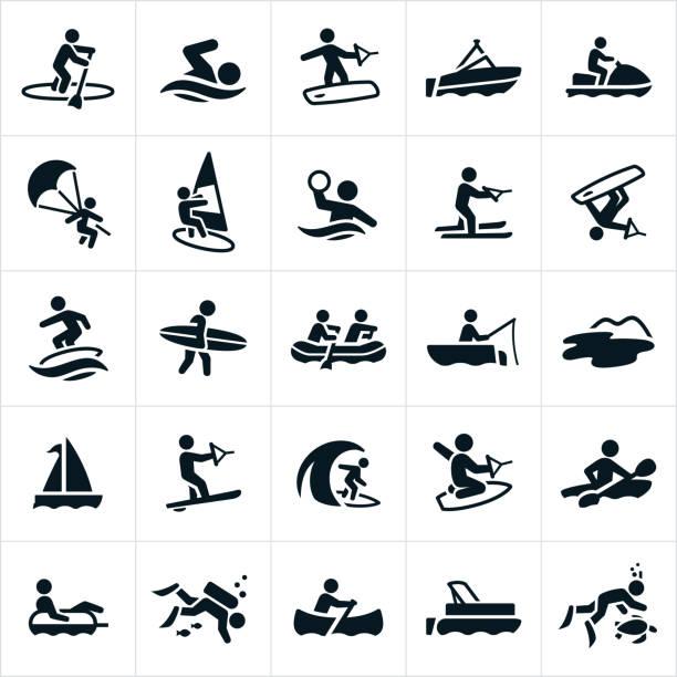 ilustrações, clipart, desenhos animados e ícones de ícones de recreação de água - esporte aquático